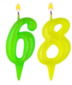 Birthday candles number sixty eight  — Foto Stock