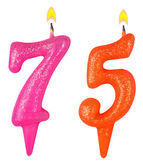 Birthday candles number seventy five — Stock Photo