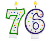 Birthday candles number seventy six — Stock Photo