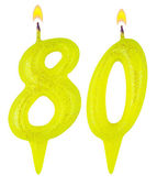 Birthday candles number eighty — Foto Stock