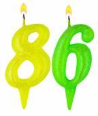 Birthday candles number eighty six — Stockfoto
