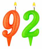Birthday candles number ninety two — Stock Photo