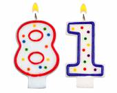 Birthday candles number eighty one — Foto Stock
