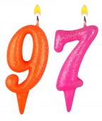 Birthday candles number ninety seven — Stock fotografie
