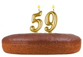 Birthday cake with candles number 59 isolated — Stock Photo
