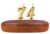 День рождения торт свечи номер 74 изолированные — Стоковое фото