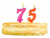 Birthday cake with candles number seventy five — Stock Photo