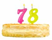 Birthday cake with candles number seventy eight  — Stock Photo
