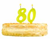Birthday cake with candles number eighty — Stock Photo