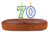 Birthday cake with candles number seventy — Stock Photo