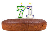 Birthday cake with candles number seventy one  — Stock Photo