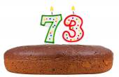 Birthday cake with candles number seventy three  — Stock Photo