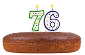 Birthday cake with candles number seventy six  — Stock Photo