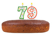 Birthday cake with candles number seventy nine — Stock Photo