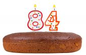 Birthday cake with candles number eighty four — Stock Photo
