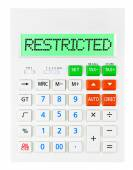 Calculator with RESTRICTED  — Stock Photo