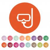 The scuba mask icon. Diving symbol. Flat — Stock Vector