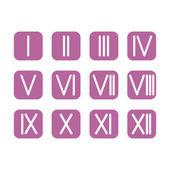 Set Roman numerals 1-12 icon. vector — Stock Vector
