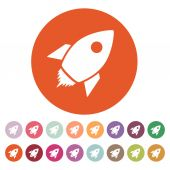 The rocket icon. Launch and speed symbol. Flat — Stock Vector