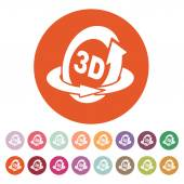 The 3d icon. Rotation arrow symbol. Flat — Stock Vector
