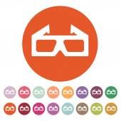 The 3d movie icon. 3D Glasses symbol. Flat — Stock Vector