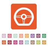 The steering wheel icon. Auto symbol. Flat  — Stock Vector