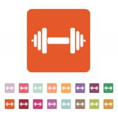 The dumbbell icon. Barbell symbol. Flat — Stock Vector