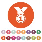 The medal icon. Prize symbol. Flat — Stock Vector