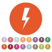 The lightning icon. Power symbol. Flat — Stock Vector
