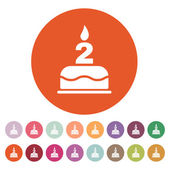 The birthday cake with candles in the form of number 2 icon. Birthday symbol. Flat — Stock Vector