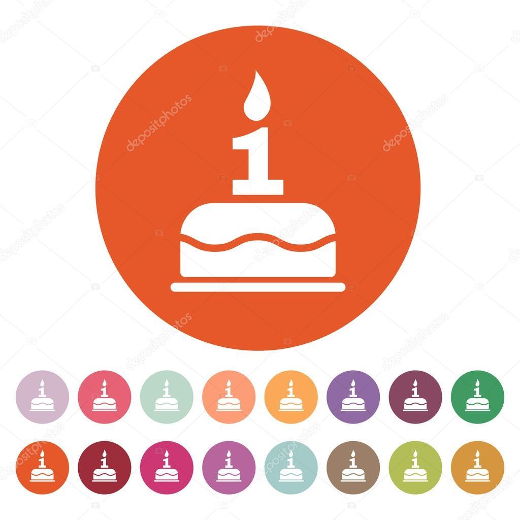 Birthday Cake Sign Icon. C...