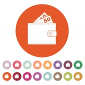 The wallet icon. Purse symbol. Flat — Stock Vector