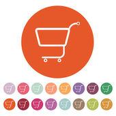 The shopping cart icon. Shopping cart. Flat — Stock Vector