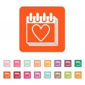 The calendar icon. Valentines day symbol. — Stock Vector