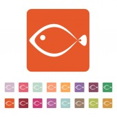 The fish icon. Seafood symbol. Flat — Stock Vector