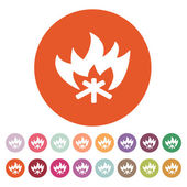The fire icon. Bonfire symbol. Flat — Stock Vector
