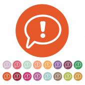 The exclamation mark icon. Attention speech bubble — Stock Vector