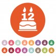 The birthday cake with candles in the form of number 12 icon. Birthday symbol. Flat — Stock Vector #77256544