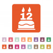 The birthday cake with candles in the form of number 12 icon. Birthday symbol. Flat — Stock Vector #77519138