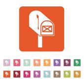 L'icona della cassetta postale. Posta, posta, simbolo di ufficio postale. Piatto — Vettoriale Stock