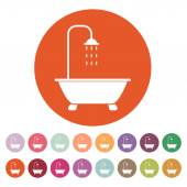 The shower icon. Bathroom symbol. Flat — Stock Vector