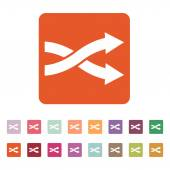 The intersecting arrows icon. Exchange and  turn, cross symbol. Flat — Stock Vector