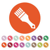 The paint brush icon. Painting and renovation, repair, coloring symbol. Flat — Stock Vector