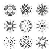 Ensemble de 9 snowflakes abstract vector — Vecteur