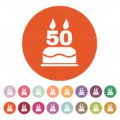 The birthday cake with candles in the form of number 50 icon. Birthday symbol. Flat — Stock Vector