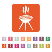 The grill icon. Barbecue and picnic, barbeque symbol. Flat — Stock Vector