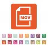 The MOV icon. Video file format symbol. Flat — Stock Vector