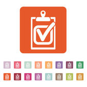 The checklist icon. Clipboard and executed task, correct answer symbol. Flat — Stock Vector
