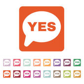 The YES speech bubble icon. Social network and web communicate symbol. Flat — 图库矢量图片