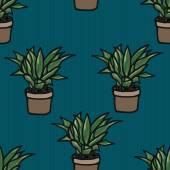Flower in a pot seamless pattern — Stock Vector
